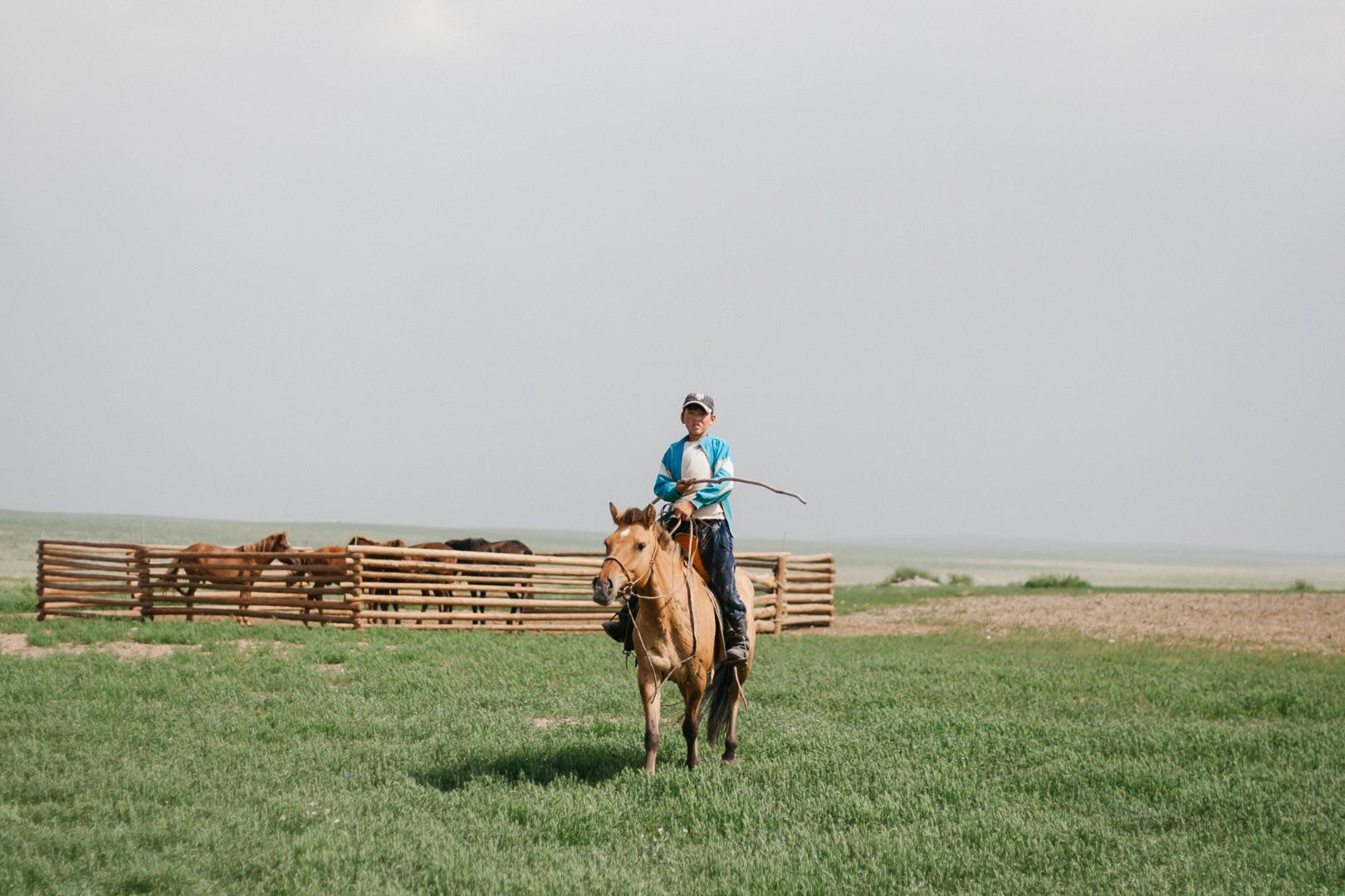 bergé enfant mongole cavalier mongolie